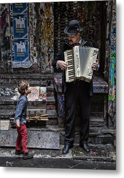 The Busker And The Boy Metal Print