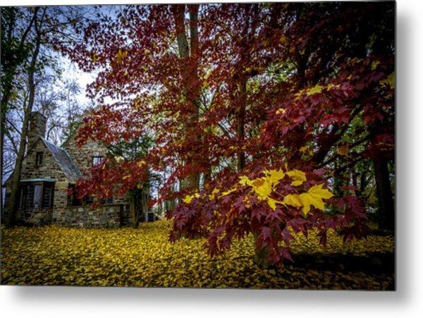 The Cabin In Autumn Metal Print