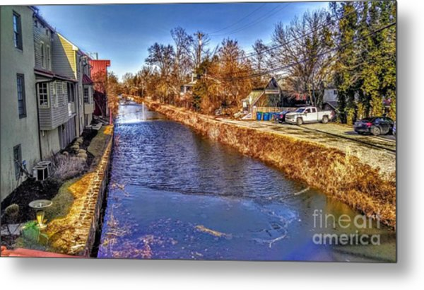 The Canal At New Hope In Winter Metal Print