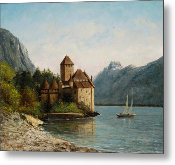 The Castle Of Chillon Evening Metal Print