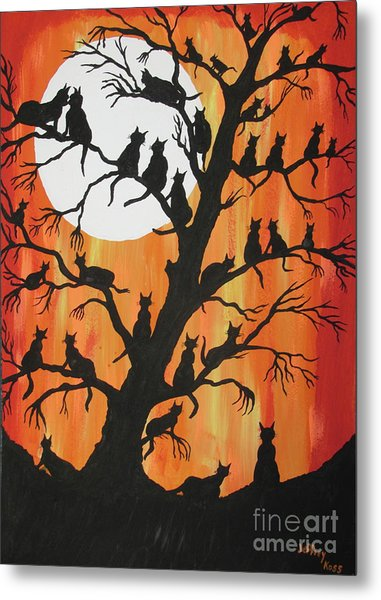 The Cats On Night Watch Metal Print