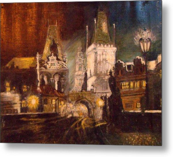 The Charles Bridge In Prague At Night Metal Print