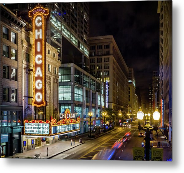 Illinois - The Chicago Theater Metal Print