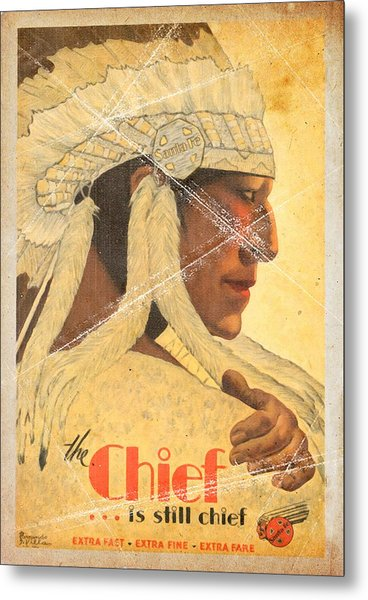 The Chief Train - Vintage Poster Folded Metal Print