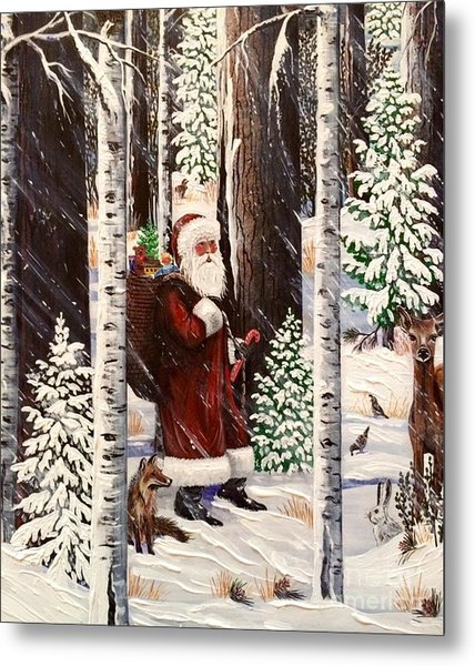 The Christmas Forest Visitor 2 Metal Print