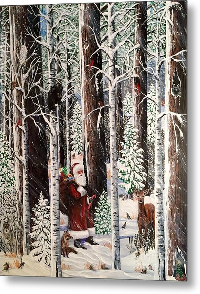 The Christmas Forest Visitor Metal Print