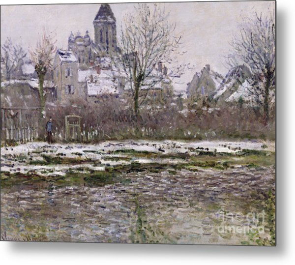 The Church At Vetheuil Under Snow Metal Print