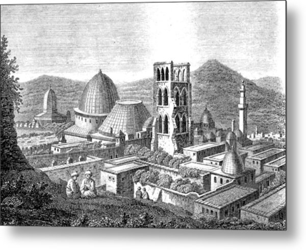 The Church Of The Holy Sepulchre With The Dome Of The Rock  Metal Print by Ludwig Mayers