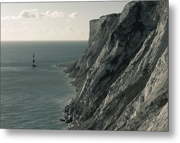 The Cliffs Of Beachy Head And The Lighthouse Metal Print by Luka Matijevec