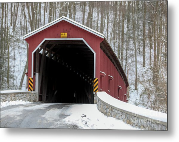The Colemansville Covered Bridge In Winter Metal Print