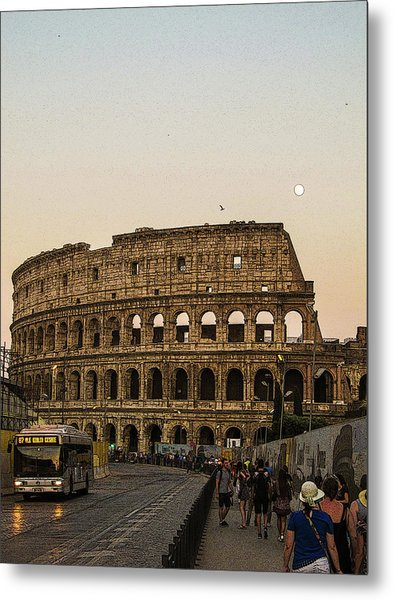The Coliseum And The Full Moon Metal Print