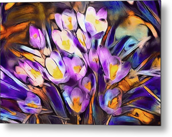 Metal Print featuring the mixed media The Colors Of Crocus by Susan Maxwell Schmidt