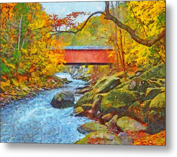 Metal Print featuring the digital art The Covered Bridge At Mcconnells Mill State Park by Digital Photographic Arts