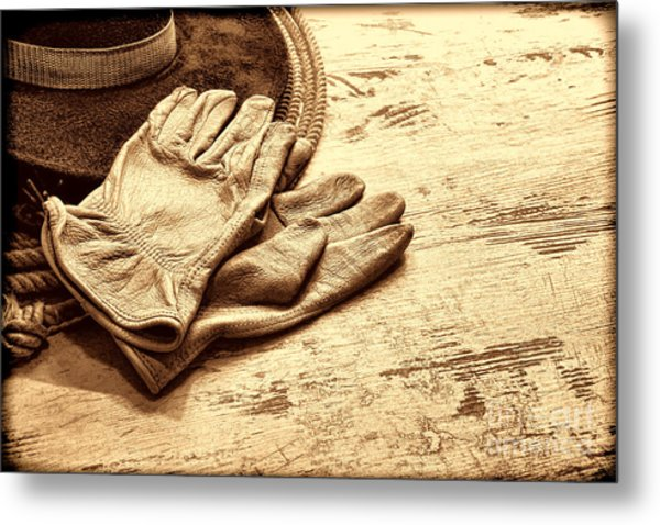 The Cowboy Gloves Metal Print