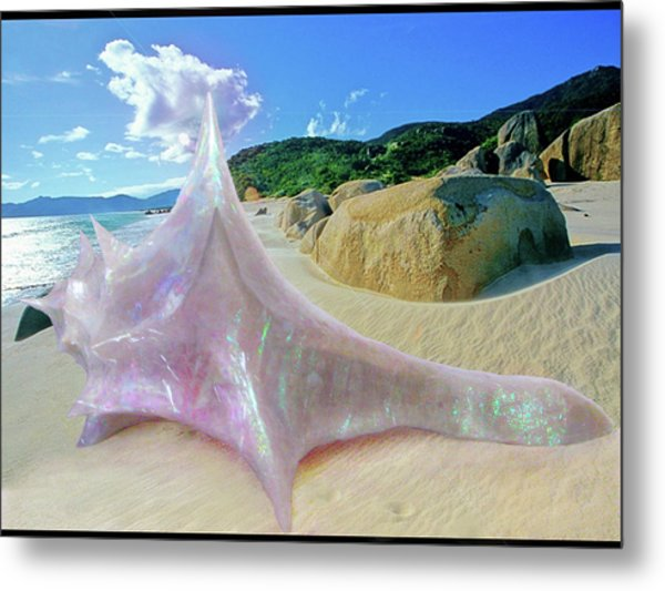 Metal Print featuring the sculpture The Crystalline Rainbow Shell Sculpture by Shawn Dall