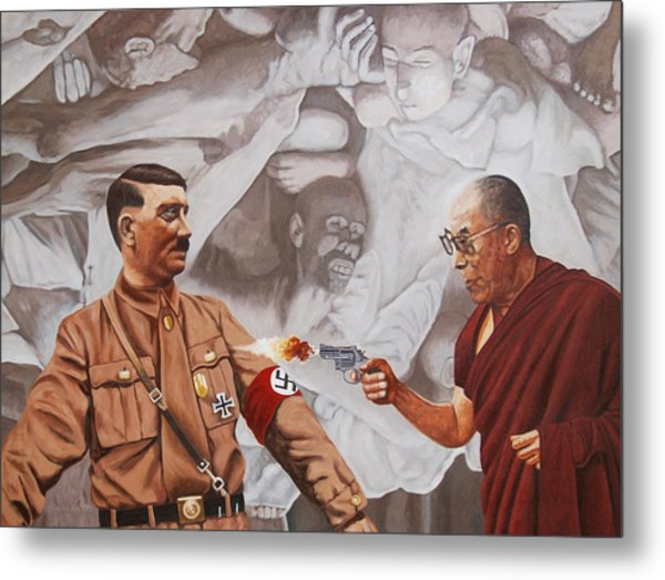 The Dalai Lama Shoots Adolph Hitler Metal Print by Allan OMarra