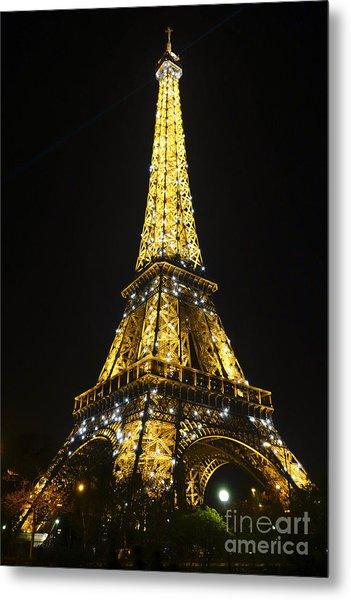 The Eiffel Tower At Night Illuminated, Paris, France. Metal Print