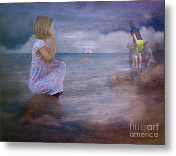The Explorers Underneath The Night Sky At The Seashore Metal Print