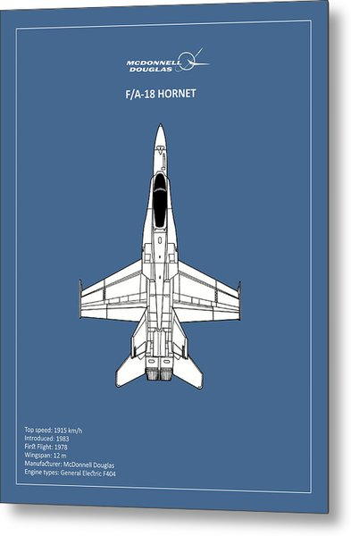 The F-18 Hornet Metal Print