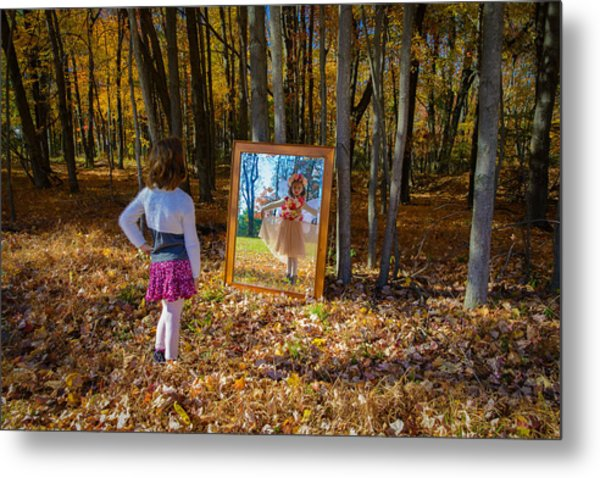 The Fairy In The Mirror Metal Print