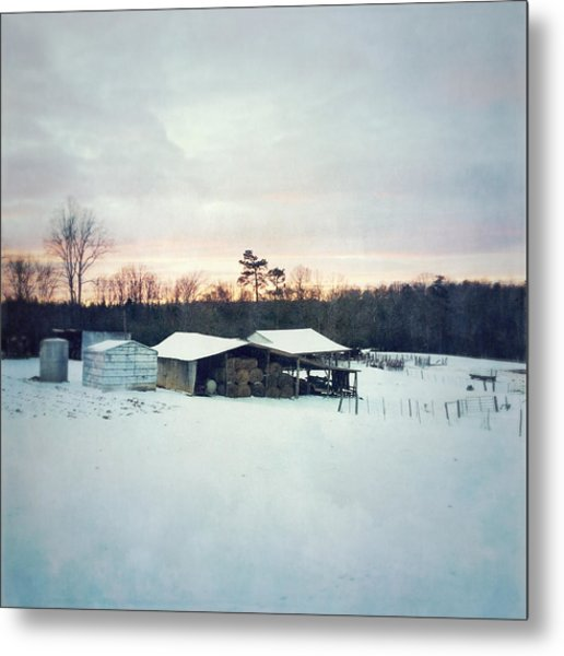 The Farm In Snow At Sunset Metal Print