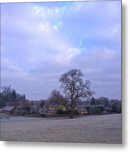 The Farm In Winter Metal Print