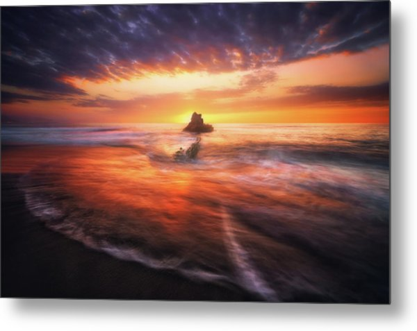 The Flaming Rock Metal Print