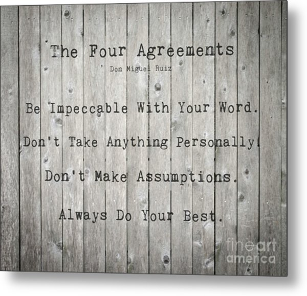The Four Agreements 12 Metal Print