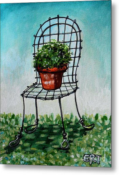 The French Garden Cafe Chair Metal Print