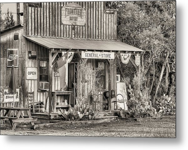 The Frontier Outpost General Store Black And White Metal Print by JC Findley