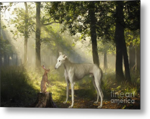 The Galgo And The Hare Metal Print