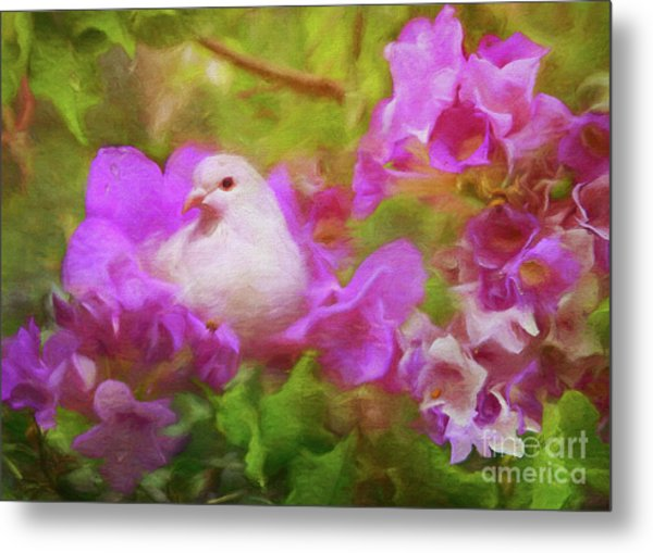 The Garden Of White Dove Metal Print