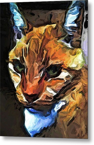 The Gaze Of The Gold Cat Metal Print