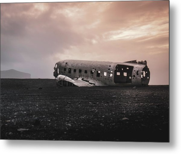 The Ghost - Plane Wreck In Iceland Metal Print