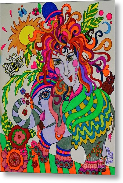 The Girl And The Elephant Metal Print