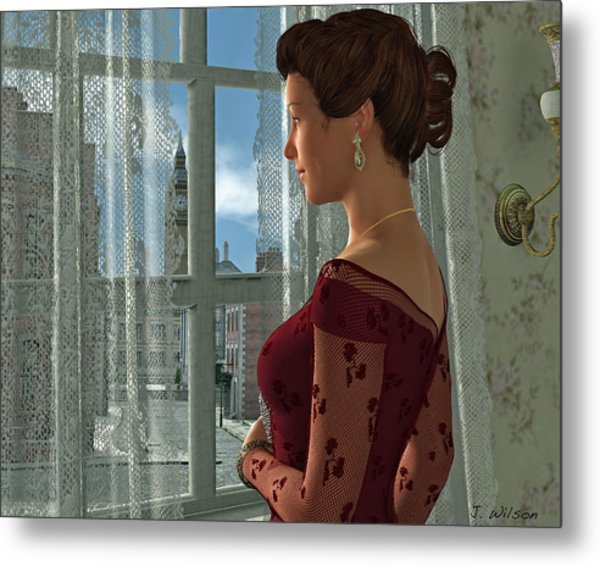 The Girl At The Window Metal Print