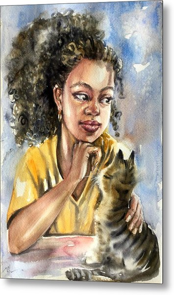 The Girl With A Cat Metal Print