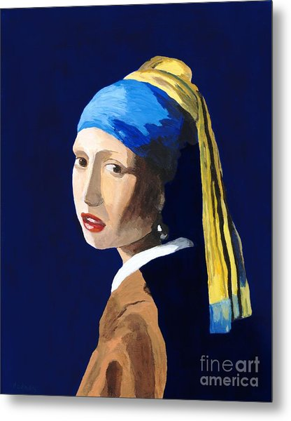 The Girl With A Pearl Earring After Vermeer Metal Print