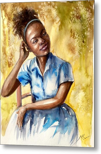 The Girl With The Blue Dress Metal Print