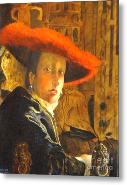 The Girl With The Red Hat After Jan Vermeer Metal Print