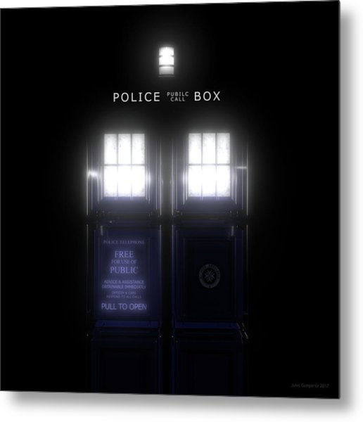 The Glass Police Box Metal Print