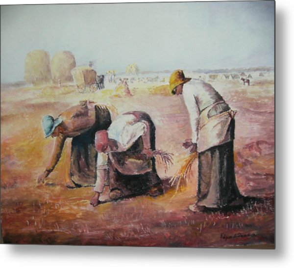 The Gleaners After Millet By My Dad Metal Print by Anne-Elizabeth Whiteway