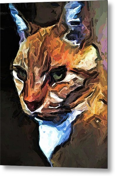 The Gold Cat With The Stage Presence Metal Print