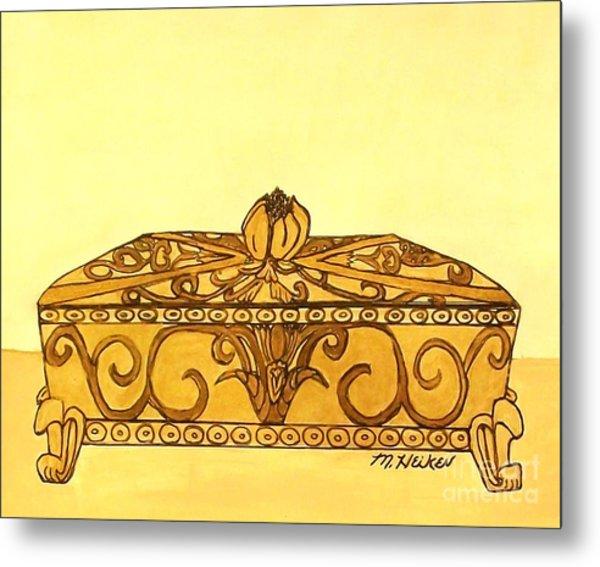 The Golden Jewelry Box Metal Print by Marsha Heiken