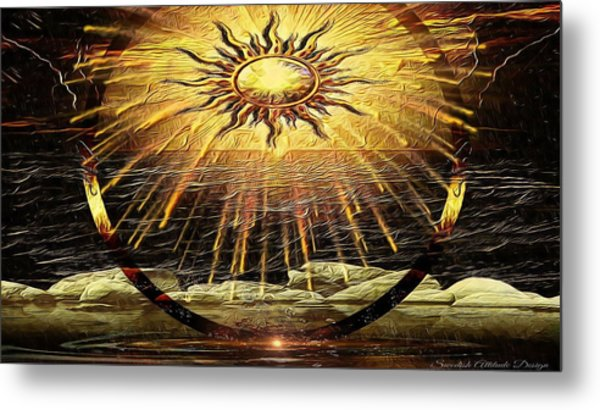 The-golden Ring By The Shore Metal Print
