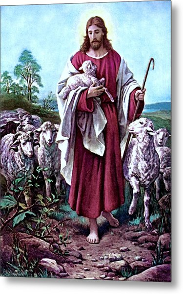 The Good Shepherd 1878 Bernhard Plockhorst Metal Print