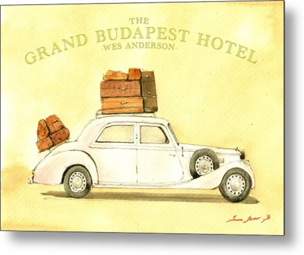 The Grand Budapest Hotel Watercolor Painting Metal Print