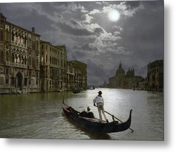 The Grand Canal Venice By Moonlight Metal Print
