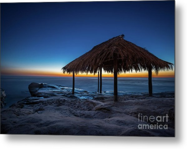 The Grass Shack At Windansea At Sunset Metal Print