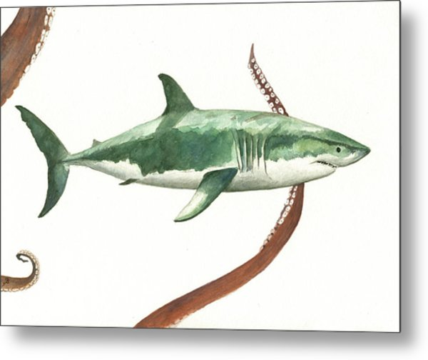 The Great White Shark And The Octopus Metal Print